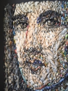 Gugger Petty's portrait of a young man made w newspaper and mixed media. Can be purchased for $6,800 at Andrea Schwartz Gallery in SF.