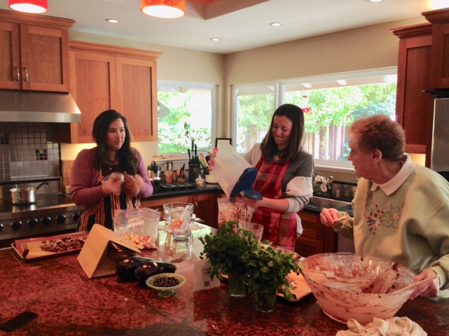 My nieces Laura, Jamie and my mother in law Nilda having fun in the kitchen