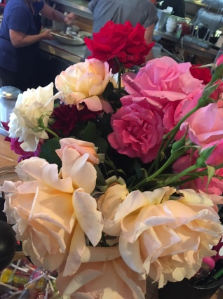 gorgeous roses adorned the counter